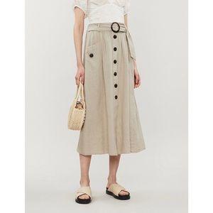 TOPSHOP   Belted Linen Blend Button Midi Dress 4
